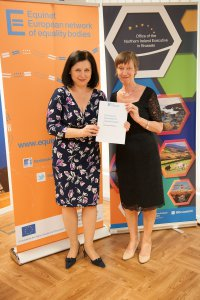 Commissioner Věra Jourová receives Standards Paper from former Equinet Chair Evelyn Collins