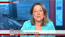 Anne Gaspard, speaking on the BBC's GMT (Click to enlarge picture)