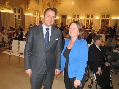 Anne Gaspard, with Prime Minister Xavier BETTEL