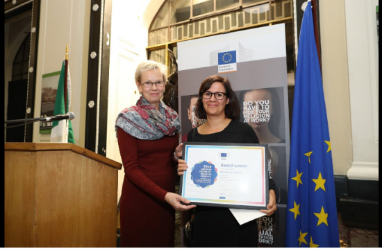 Verena Mayer, Germany receives her award from Tiina Astola, Director-General for Justice and Consumers