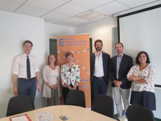 Social partners meet with Equinet secretariat and board members (left to right): G.Cravero (Business Europe), A. Gaspard (Equinet Director), E.Collins (Equinet Chair), P.Charlier (Equinet Treasurer), A.de Boer (UEAPME), M.Monaco (ETUC)
